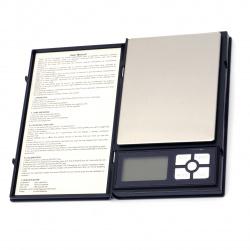 Ψηφιακή ζυγαριά έως 500 γραμμάρια σε 0,01 γραμμάρια 100x165x22 mm με καπάκι 2 μπαταρίες