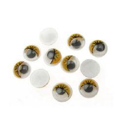 Ματάκια χειροτεχνίας 8 mm με κίτρινο βλέφαρο -50 κομμάτια