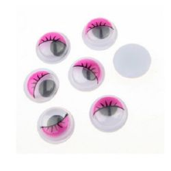 Wiggle Eyes with eyelashes for Decorations, DIY Crafts Handmade Accessories 10 mm, pink - 50 pieces