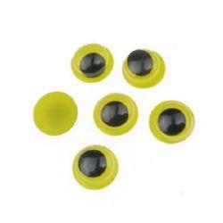 Ochiuri care se mișcă de bază galbenă 8 mm -50 bucăți