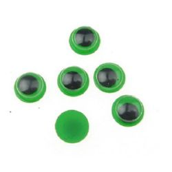 Очички мърдащи зелена основа 8 мм -50 броя