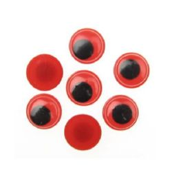 Wiggle Eyes for Decorations, DIY Crafts Handmade Accessories, red base 12 mm - 50 pieces