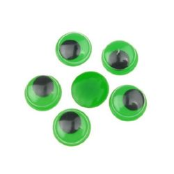 Wiggle Eyes for Decorations, DIY Crafts Handmade Accessories, green base 12 mm - 50 pieces