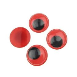 Wiggle Eyes for Decorations, DIY Crafts Handmade Accessories, red base 15 mm - 50 pieces