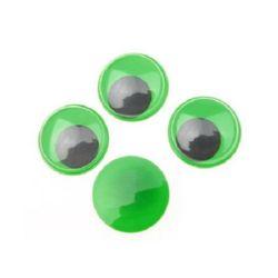 Ματάκια χειροτεχνίας 20 mm πράσινο/μαύρο -20 τεμάχια