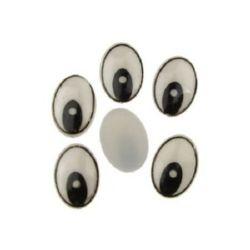 Ochi  vopsiti 14x19 mm alb-negru -10 bucăți