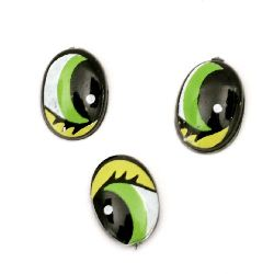 Painted Eyes with eyelashes for Decorations, DIY Crafts Handmade Accessories 9x6x1.5 mm green with yellow - 20 pieces