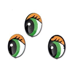 Painted Eyes with eyelashes for Decorations, DIY Crafts Handmade Accessories 16x11x2 mm green and orange - 20 pieces