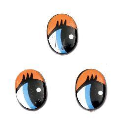 Ματάκια χειροτεχνίας μπλε 16x11x2 mm πορτοκαλί με βλεφαρίδες -20 κομμάτια