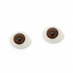 Plastic Eyes DIY Dolls Kids Crafts, Artificial Eye Decor 18x15x7 mm brown - 10 pieces