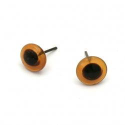 Очи стъкло 10x4 мм кафяви с пирон 17 мм -10 броя