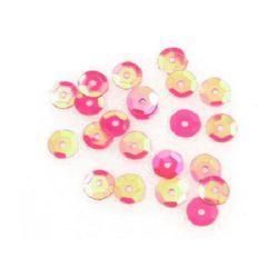 Sequins round 6 mm pink rainbow - 20 grams