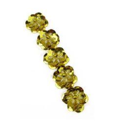 Floare de paiete și mărgele 19x19x7 mm culoare aur -5 bucăți