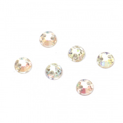 Acrylic stone for sewing 5mm round white transparent rainbow faceted -100 pieces