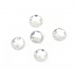 Камък акрил за пришиване 7 мм кръг бял прозрачен фасетиран екстра качество -50 броя