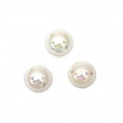 Перла полусфера за пришиване 10 мм цвят бял дъга -50 броя