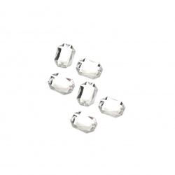 Piatră acrilică pentru cusut 8x10 mm figură albă fațetă transparentă -50 piese