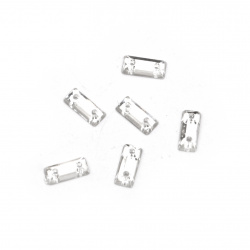 Acrylic stone for sewing 3x7 mm rectangle white transparent faceted - 50 pieces