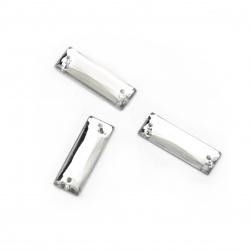 Piatră acrilică pentru cusut 7x21 mm dreptunghi alb transparent - 25 bucăți