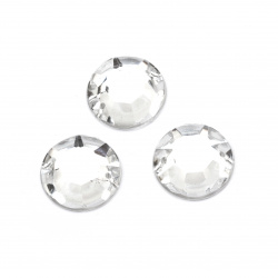 Acrylic stone for sewing 20 mm round white transparent faceted - 5 pieces