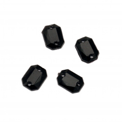 Acrylic stone for sewing 6x8 mm black figure faceted - 50 pieces