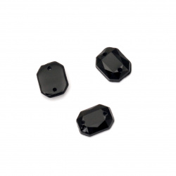 Acrylic stone for sewing 8x10 mm black figure faceted - 50 pieces