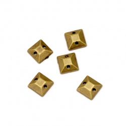 Piatra acrilica pentru cusut 6x2x6 mm culoare patrata bronz antic -50 bucati