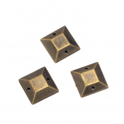 Acrylic stone for sewing 12x3x12 mm square color antique bronze - 25 pieces