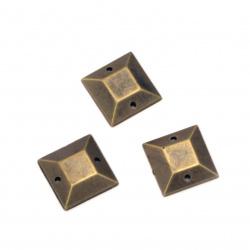 Piatra acrilica pentru cusut 12x3x12 mm culoare patrata bronz antic -25 bucati