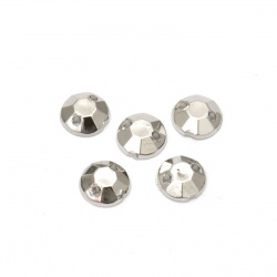 Acrylic stone for sewing 6mm round faceted color silver - 50 pieces