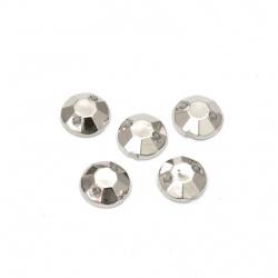 Piatra acrilica pentru cusut rotunda de 6 mm fatetata culoare argintiu -50 bucati