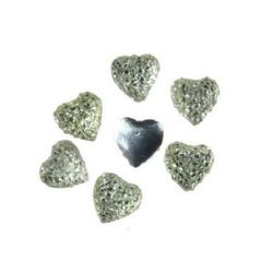 Acrylic stone for gluing cabochon type 8x8 mm heart white with relief -10 pieces