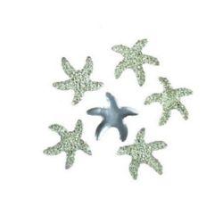 Камък акрил за лепене тип кабошон 17x18 мм звезда бял с релеф -10 броя