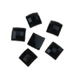 Acrylic stone for gluing cabochon type 8x8 mm square black -10 pieces