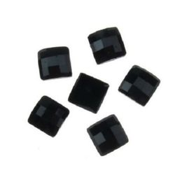 Acrylic stone for gluing cabochon type 10x10 mm square black -10 pieces