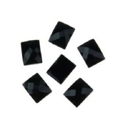 Acrylic stone for gluing cabochon type 8x10 mm rectangle black -10 pieces