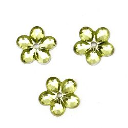 Acrylic stone for gluing flower 11x2 mm light green -20 pieces