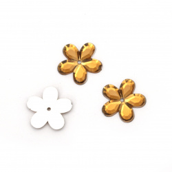 Акрилен камък за лепене цвете 11x2 мм тъмен карамел -20 броя