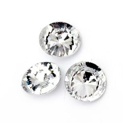 Acrylic Rhinestone, Hot-Fix Decoration, Clothes, DIY, Craft, Jewelry Making  14x6 mm round transparent faceted -20 pieces