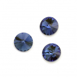 Acrylic stone for embedding 14x7 mm round blue faceted - 10 pieces