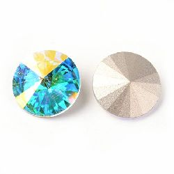 Acrylic Rhinestone, Hot-Fix Decoration, Clothes, DIY, Craft, Jewelry Making  extra quality 14x7 mm round blue arc faceted -1 piece