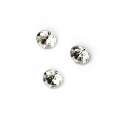Acrylic Rhinestone, Hot-Fix, DIY, Decoration 7x5 mm round transparent faceted -50 pieces