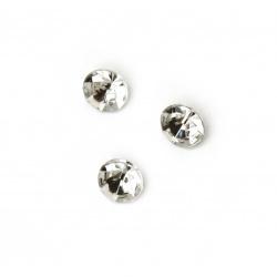 Камък акрил за вграждане 7x5 мм кръг прозрачен фасетиран -50 броя