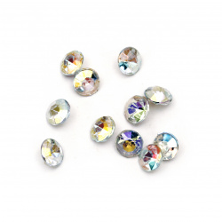 Acrylic Rhinestone, Hot-Fix, DIY, Decoration one 6x4 mm round transparent faceted facet -50 pieces