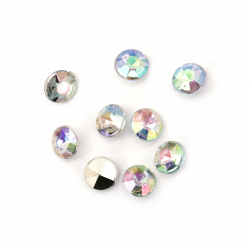Acrylic Rhinestone, Hot-Fix, DIY, Decoration  7x5 mm round transparent arched faceted -50 pieces