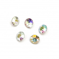 Acrylic Rhinestone, Hot-Fix, DIY, Decoration  8x5 mm round transparent faceted facet -20 pieces