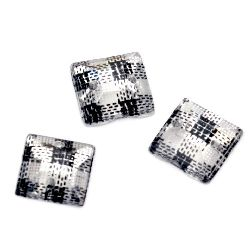 Acrylic stone for sewing 8x8 mm square, frame faceted - 50 pieces