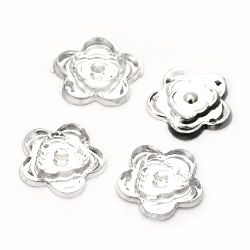 Acrylic stone for sewing 15mm flower transparent embossed - 20 pieces