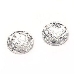 Piatra acrilica pentru cusut rotunda de 18 mm gofrata transparenta -10 bucati