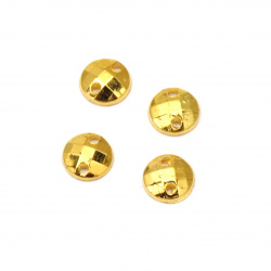 Acrylic stone for sewing 6mm round faceted color gold - 50 pieces